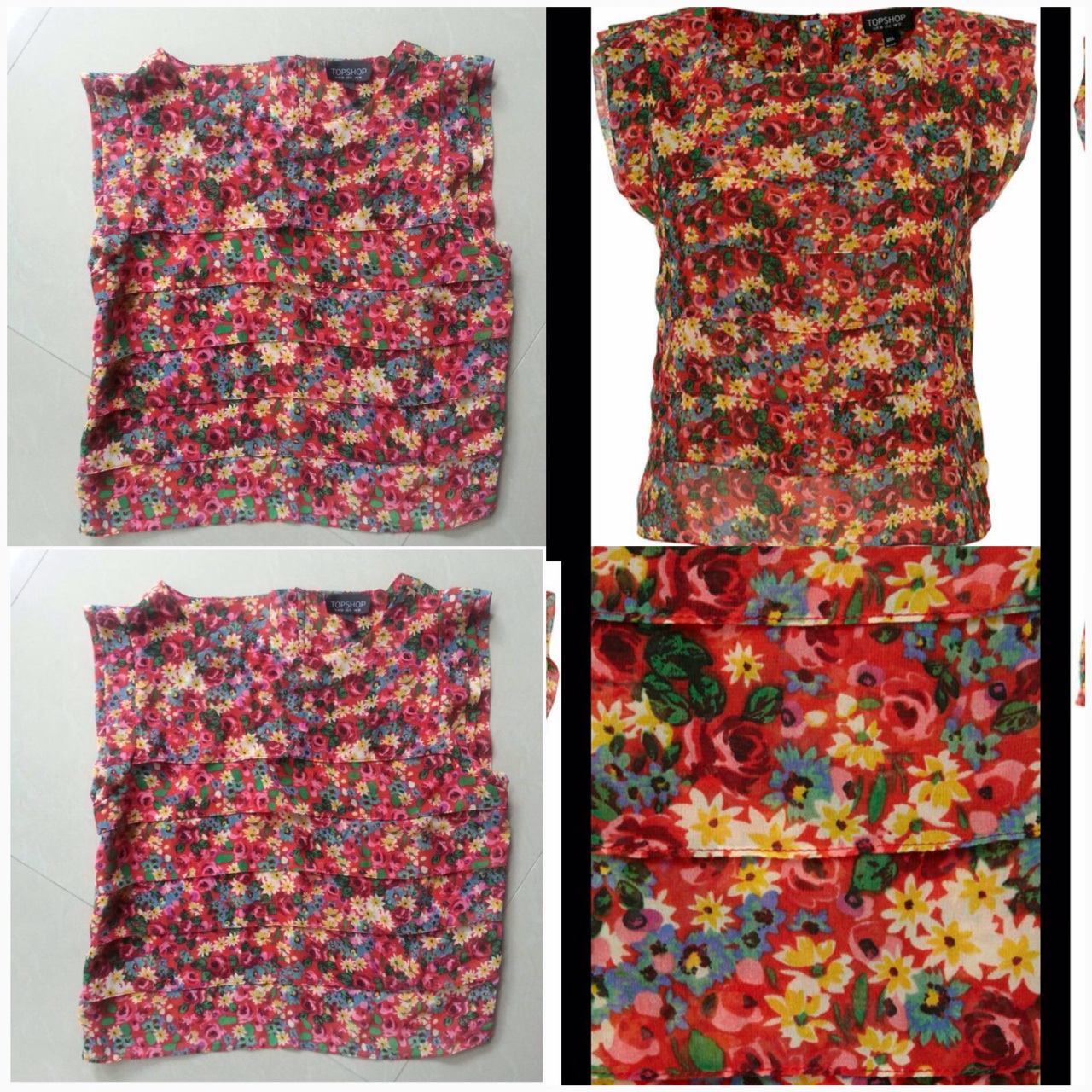 Topshop Floral Top Size uk8 and UK 10