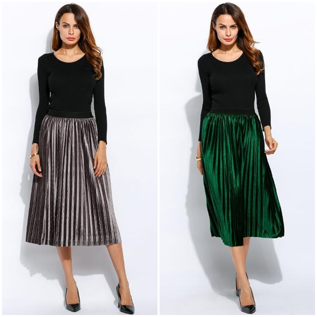 กระโปรง Fleece High Waist Solid Pleated Hem