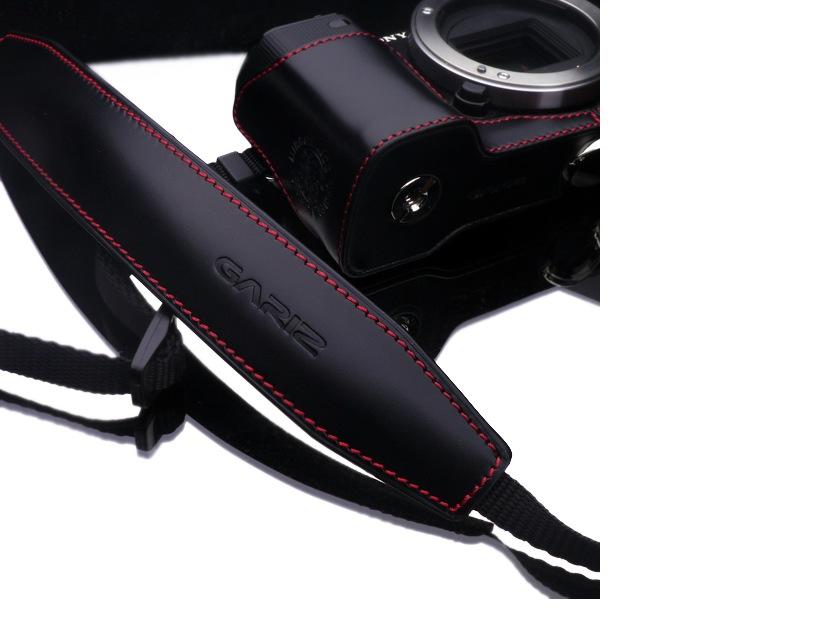 Gariz Leather Neck Strap : Black/red