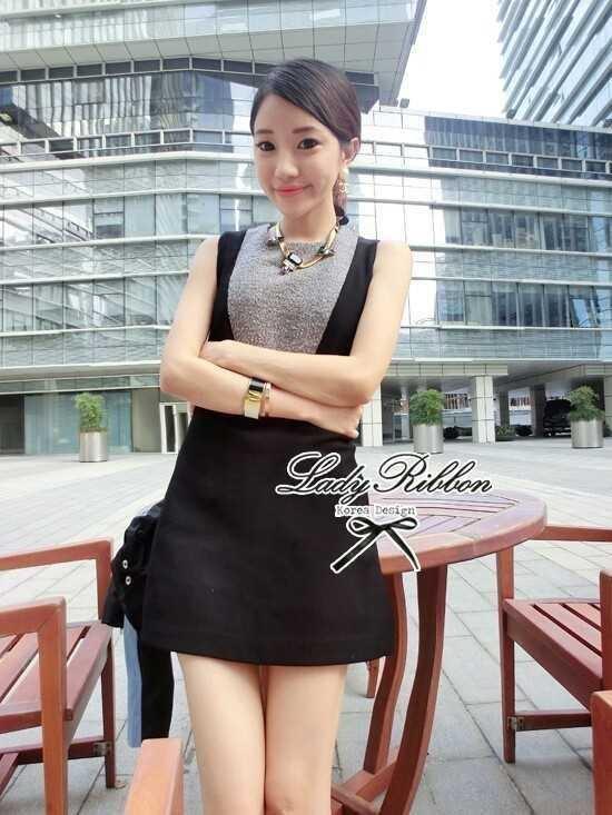 Lady Ribbon Mini Dress มินิเดรสแขนกุด สีทูโทน