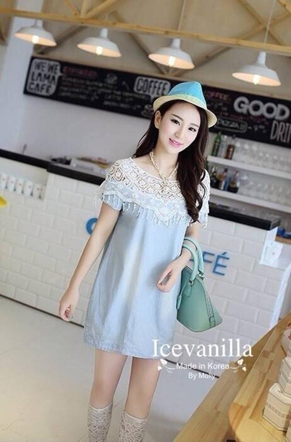 IceVanilla Mona Lace Stitch Soft Denim Dress